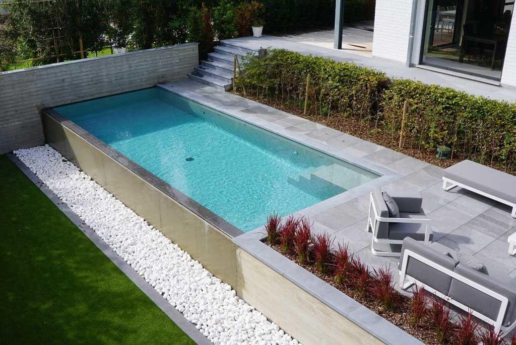 Zwembad van hdb pools hoogteverschil van 2 5 meter for Afmetingen zwembad tuin